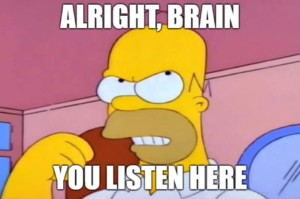 Homer Simpson talking to his brain meme